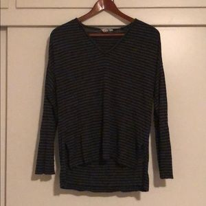 Madewell black and gray striped long sleeve top M